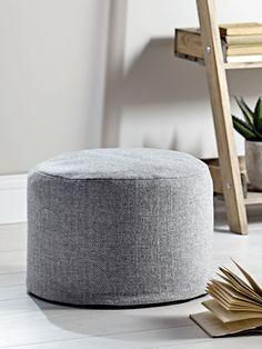 Herringbone Wool Pouf - Grey - Luxury Bean Bags & Bean Bag Chairs - Luxury Seating - Luxury Home Furniture