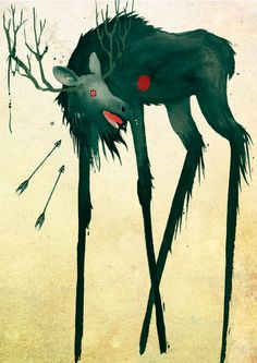 hiiden hirvi - demon's elk by yennie on DeviantArt Elk Tattoo, Fantasy Story, Prehistory, Pics Art, Folklore, Finland, Mythology, Eye Candy, Art Drawings