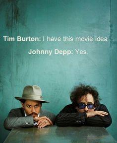 You play a - YES.  Tim Burton.  Johnny Depp.
