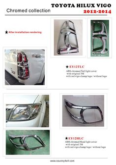 China Accessories China manufacturer, Hilux Vigo Accessories China, Revo Accessories supplier - Esunny Co. Tail Light, Head Light, 4x4 Accessories, Toyota Hilux, China, Light Covers, Chrome, Abs, Crunches