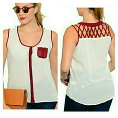 Plus Size Sheer Sleeveless Button Up w/ Caged Back Sheer Sleeveless Button Up w/ Caged Back. Burgandy  & White.  Breast pocket has spike details. NWT.   No trade or PP  Offers Considered  Bundle discounts Tops Tank Tops