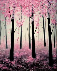 Check out Spring Forest at Marlow's Tavern Woodstock - Yaymaker Sakura Painting, Pink Painting, Easy Canvas Painting, Canvas Art, Happy Paintings, Nature Paintings, Cool Paintings, Forest Drawing Easy, Spring Drawing