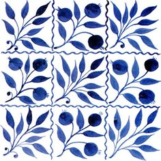 William Morris Tile: Blue Floral Tiles -- William De Morgan Nine Square Bough