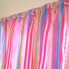 Girls curtains made from ribbon. This turned out so cute!!  I love them.