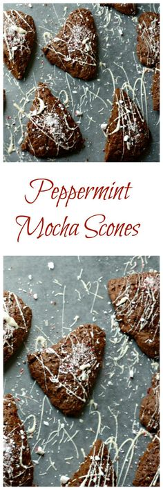 Peppermint Mocha Scones: Traditional scones get a holiday latte inspired make-over. These tender scones are packed with rich cocoa, subtle coffee flavor, and just a hint of peppermint. Finished off with a white chocolate glaze and crushed candy canes