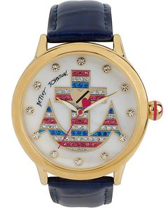 NAUTICAL ACHOR WATCH BLUE accessories jewelry watches fashion. I really want this watch