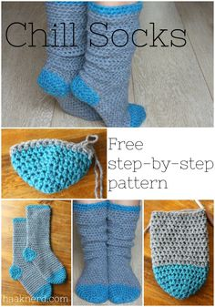 A free crochet pattern with photo tutorial for a pair of warm and comfy chill socks Crochet Socks Pattern, Crochet Boots, Crochet Slippers, Crochet Baby, Free Crochet, Knit Crochet, How To Crochet Socks, Crochet Clothes, Tunisian Crochet Stitches