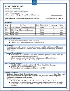 Best Resume Format For Freshers  Sample Of Professional Resume