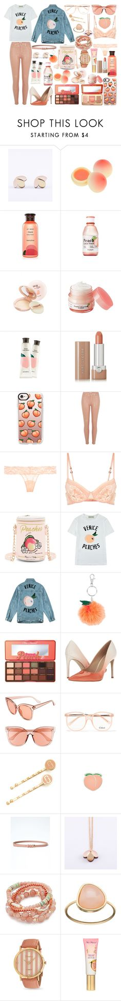 """Peach perfect"" by pessky ❤ liked on Polyvore featuring Wolf & Moon, TONYMOLY, Innisfree, Skinfood, Marc Jacobs, Casetify, River Island, La Perla, Betsey Johnson and Être Cécile"