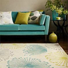 Dandelion Duck Egg Olive Rug - Sanderson Rugs - A rug with the popular Dandelion Clocks design, shown here in aqua, green, grey and cream. This is a hand tufted, new wool rug. Available in 3 sizes. Tapis Design, Interior Desing, Curtain Designs, Large Rugs, Modern Rugs, Contemporary Rugs, Rugs Online, Decoration, Home And Living