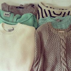 gray, black, white, mint, brown knit sweaters