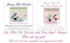 New mini cat 2018 monthly calendar. Free pattern available from my blog or full pdf version to download.
