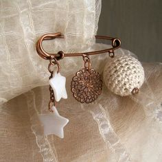Pin jewelry, copper safety pin brooch with mother of pearl stars, coupdecoeurjewelry, $13.50