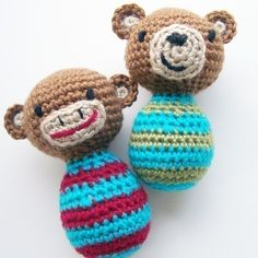 Lil Monkey and Bitty Bear  Crochet Pattern PDF by Herbst on Etsy $2.99