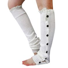 Gilroy Women's Knitted Knee High Boot Socks Leg Warmers with Lace Trim Button - White. These knee high legging boot socks feature woolen blend, flat button and lace trim. Wearing on these, the girl or woman will get warmth and be fashionable. Material: Woolen Blend. Length: 53cm/20.87'' (Approx.) ; Width: 12-23cm/4.72'' - 9.06'' (Approx.). Features: Crochet Knitted Stocking, Leg Warmers, Knee High, Flat Button, Lace Trim, Leg Warmers.