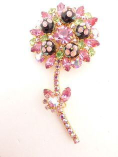9d58eca57b0 Juliana D&E Book Piece Pink Polka Dot Bead Pink Rhinestone Flower Brooch  #Juliana