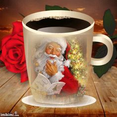 Santa Christmas Coffee Mug! Merry Christmas Gif, Christmas Coffee, Christmas Morning, Christmas Wishes, Christmas Greetings, All Things Christmas, Winter Christmas, Christmas Cards, Christmas Decorations