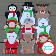 PATTERN Set of 9 Christmas Puppets - hand and finger - In The Hoop ITH Machine Embroidery Digital De Puppet Patterns, Doll Patterns, Felt Puppets, Machine Embroidery Applique, Embroidery Files, Paper Dolls, Fabric Dolls, Felt Crafts, Christmas Crafts