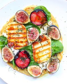 """AdelineVibrant&Pure on Instagram: """"Savoring the dwindling days of summer with this fruit forward socca pizza. Topped with almond milk ricotta, fresh figs, roasted plums, spinach & grilled halloumi. Sprinkled with za'atar and drizzled with olive oil . . . . . #goopmake #itsalleasy #livebeautifully #marthafood #theeverygirl"""""""