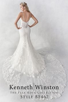 Featuring an illusion lace mid back design. Pictured in Ivory, also available in White. Order in any size from 2 to 28 or with your own custom measurements. Find a store near you at KennethWinston.com