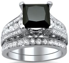 3.70ct Black Princess Cut Diamond Engagement Ring Bridal Set 18k White Gold