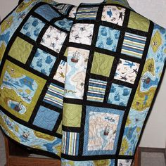 Baby Boy Quilt, Pirate Quilt, Toddler Quilt, Blue, Olive Green, Ivory, Brown, Flannel Back, Tummy Time Quilt, Quilted Pirate Boy Blanket