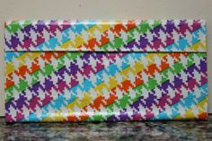 Duct Tape Wallet (Clutch) - Neon Houndstooth, $18. We are also on Etsy at: www.junorduck.ets....