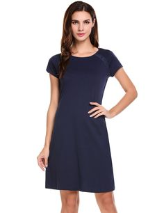 Navy blue Short Sleeve Lace Patchwork Casual Slim Fit A-Line Dress