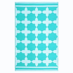 Turquoise Recycled Outdoor Rug by BoutiqueEcoChic on Etsy