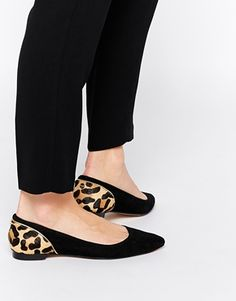 Suede Black & Leopard Print Pointed Flat Shoes
