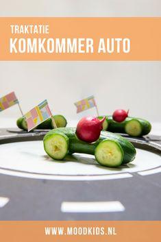 Met mini komkommers maak je in een handomdraai een gezonde traktatie. #trakteren #kidsfood Race Car Party, Race Cars, Bento, Kids Meals, Party Time, Treats, Vegetables, Mini, 4th Birthday