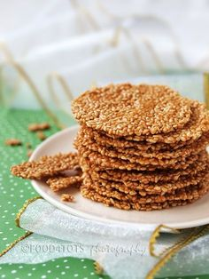 Sesame Crisps ~I would substitute the sugar with honey and the flour with a gluten free flour.~