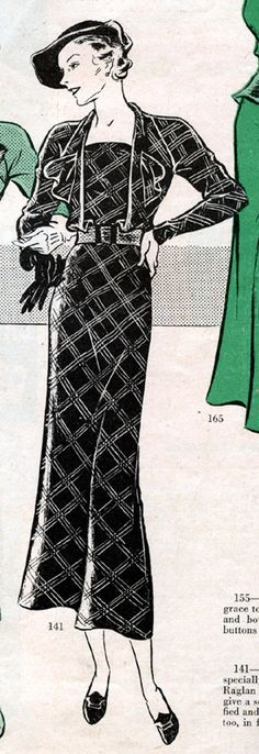 From Household Magazine in 1934. The new metal shot fabrics seem specially made for this distinctive model. Raglan sleeves and a bloused bodice give a softness of line that is both dignified and flattering. There back interest, too, in fan pleats and a looped tie.