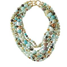 Kenneth Jay Lane Multi-Strand Beaded Amazonite Statement Necklace ($151) ❤ liked on Polyvore featuring jewelry, necklaces, jade, bib statement necklace, layered bead necklace, strand necklace, beaded statement necklace and multi strand chain necklace
