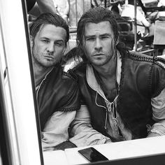 Chris Hemsworth and his double Bobby Holland Hanton practiced their pouts on the set of The Huntsman: Winter's War. Hanton goes way back with the actor — they also worked on the Thor movies and In the Heart of the Sea together. Gerard Butler, Mark Wahlberg, Alexander Skarsgard, Tom Cruise, Chris Hemsworth Body, Double Photo, Stunt Doubles, Long Relationship, Ben Affleck