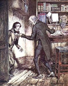 Scrooge and Bob Cratchit, from Dickens A Christmas Carol    By Arthur Rackham