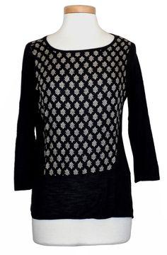 Lucky Brand Womens Shirt Printed Top Lightweight Viscose Knit Black Sz XS NEW #LuckyBrand #KnitTop #Casual