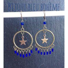 Boucles d'oreilles Bleu Roi/ étoile bronze par Bijoux Bleu Bohème : Boucles d'oreille par bijouxbleuboheme