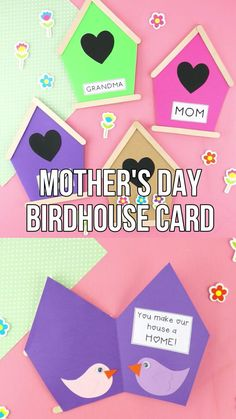 These birdhouse cards are cute and easy for preschoolers and kids of all ages to make with the help of our free card template. All you need is some cardstock, craft sticks and few other simple craft supplies and you'll have some pretty homemade cards Easy Mother's Day Crafts, Mothers Day Crafts For Kids, Diy Mothers Day Gifts, Craft Stick Crafts, Preschool Crafts, Diy For Kids, Fun Crafts, Craft Sticks, Mothers Day Cards Homemade