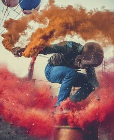 """""""I am the one who wields my own emotions."""" This art piece came from Global Meet 2 and was shot by @camarank. I love using color combinations and here I am using the primary colors yellow blue and red. I wanted my pose to be the super hero drop and have the smoke swirl and move with me. Camarank executed my vision perfectly. Note that I don't know Camarank I didn't tell him or anyone what I'm doing. I prefer it that way. I think it much cooler if serendipity plays it's hands and making my…"""