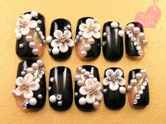 black kimono with 3d cherry blossom nail design