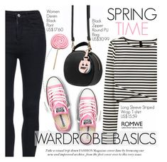 """""""Spring Time"""" by pokadoll ❤ liked on Polyvore featuring Converse and romwe"""