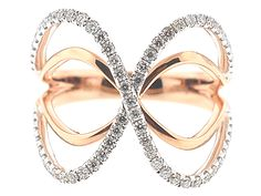 18kt White and Rose Gold X Dimensional Ring Style ID#10546