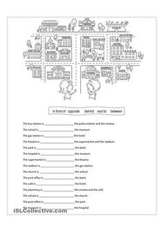 "Worksheet for practicing preposition of place such as in front of, behind, opposite, next to, between. Also for practicing ""places in a town"" vocabulary (post office, bank, hospital, etc.). Suitable for children, young adults - ESL worksheets"