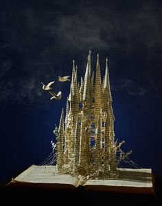 """Gormenghast Castle"" Book Sculpture by Su Blackwell, 2013. (Complete Work; View #1 of 2)"