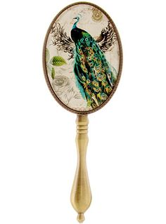 $28 - 1920s Boudoir The Prettiest Peacock Bronzed Hand Mirror at PLASTICLAND