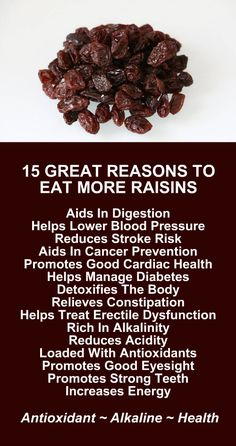 15 Great Reasons To Eat More Raisins. They are extremely rich in alkalinity and antioxidants and protect the body. For added health benefits, wash them down with a glass of alkaline rich Kangen Water; the hydrogen rich, antioxidant loaded, ionized water that neutralizes free radicals that cause oxidative stress which can lead to a variety of health issues including disease such as cancer. Change your water, change your life. #Raisins #Antioxidants #Alkaline #Health #Benefits