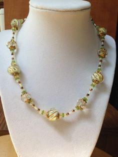 Beaded Necklace with Lampwork Glass by SRyanJewelryDesigns on Etsy