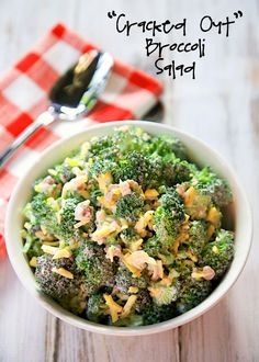 """Cracked Out"" Broccoli Salad - fresh broccoli florets tossed with Cheddar, Bacon and Ranch - even broccoli haters love this quick side dish! Great for summer potlucks. Can make ahead and refrigerate until ready to serve."