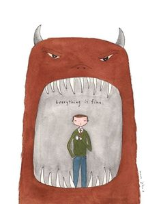 everything is fine Mini Art Print by Marc Johns - Without Stand - x Marc Johns, Illustrations, Illustration Art, Everything Is Fine, Oui Oui, Sign Printing, Art Inspo, Art Drawings, Doodles